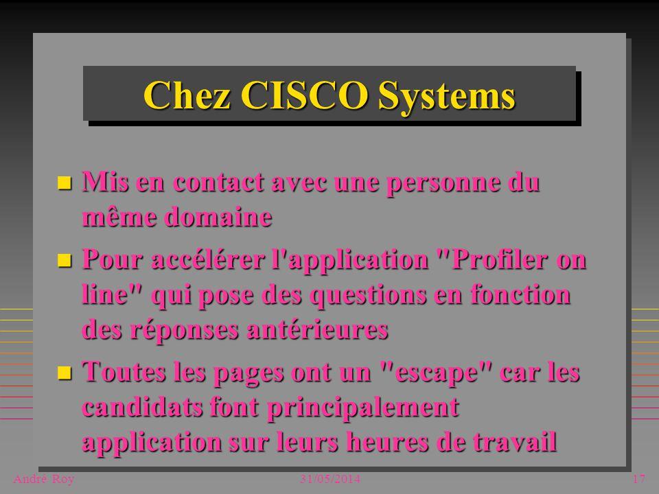 André Roy31/05/201417 Chez CISCO Systems n Mis en contact avec une personne du même domaine n Pour accélérer l'application