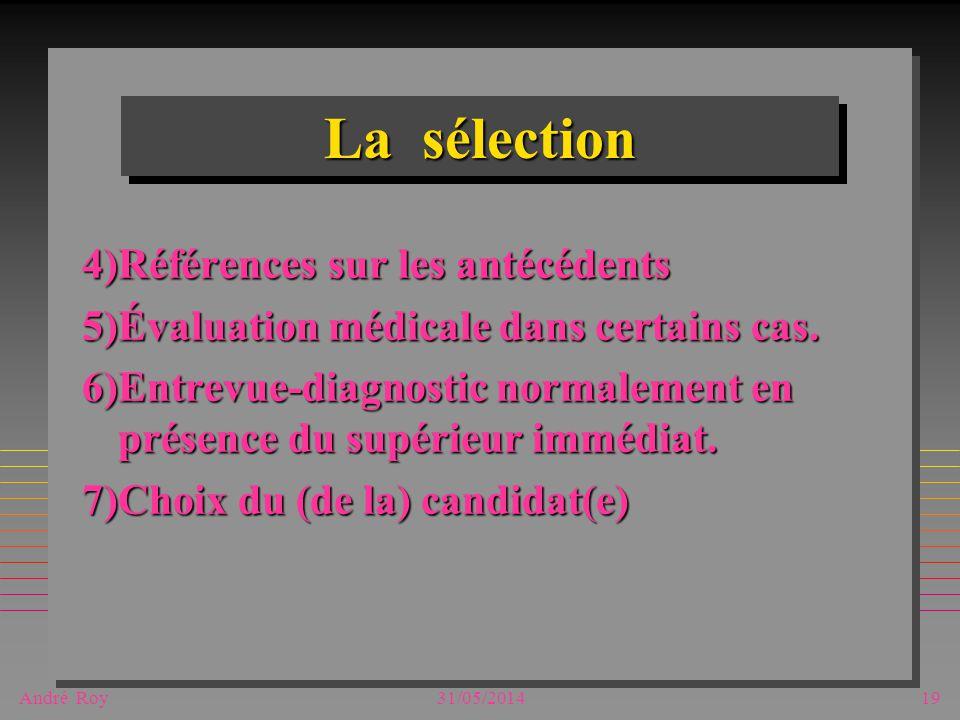 André Roy31/05/201419 La sélection 4)Références sur les antécédents 5)Évaluation médicale dans certains cas. 6)Entrevue-diagnostic normalement en prés