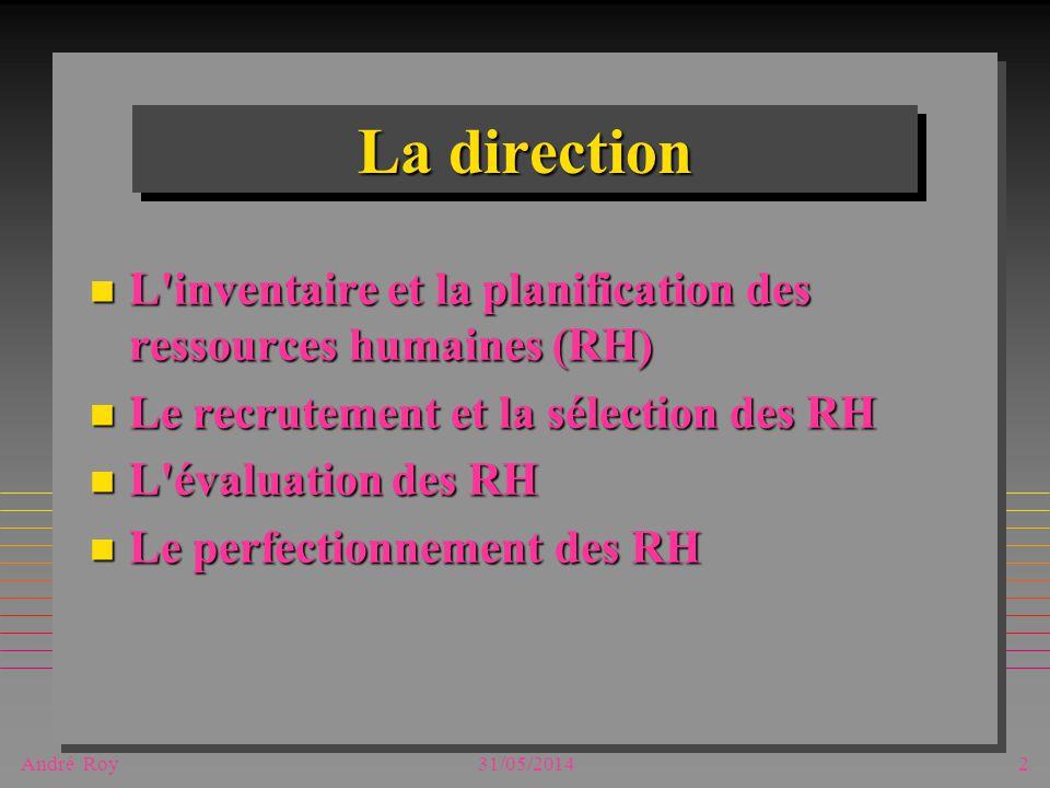André Roy31/05/20142 La direction n L inventaire et la planification des ressources humaines (RH) n Le recrutement et la sélection des RH n L évaluation des RH n Le perfectionnement des RH