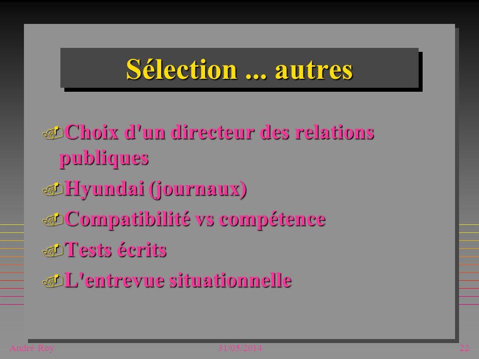 André Roy31/05/201422 Sélection... autres. Choix d'un directeur des relations publiques. Hyundai (journaux). Compatibilité vs compétence. Tests écrits