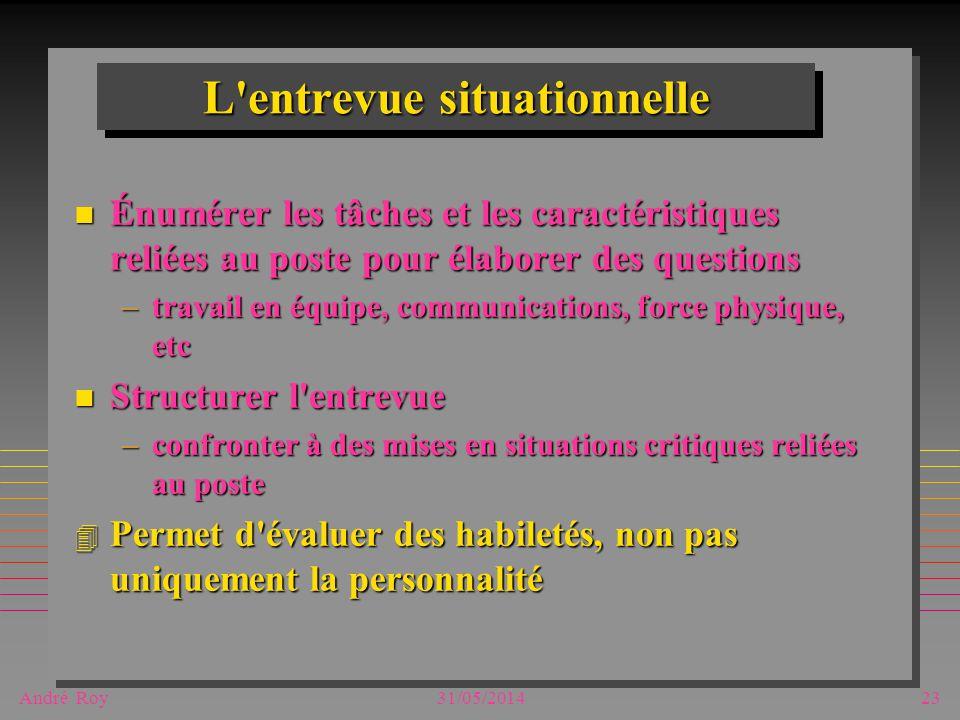 André Roy31/05/201423 L'entrevue situationnelle n Énumérer les tâches et les caractéristiques reliées au poste pour élaborer des questions –travail en