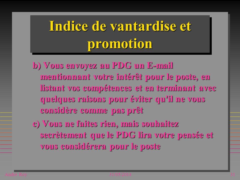 André Roy31/05/201431 Indice de vantardise et promotion b) Vous envoyez au PDG un E-mail mentionnant votre intérêt pour le poste, en listant vos compé