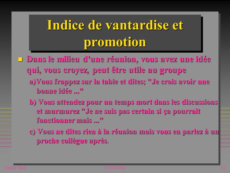 André Roy31/05/201432 Indice de vantardise et promotion n Dans le milieu d'une réunion, vous avez une idée qui, vous croyez, peut être utile au groupe