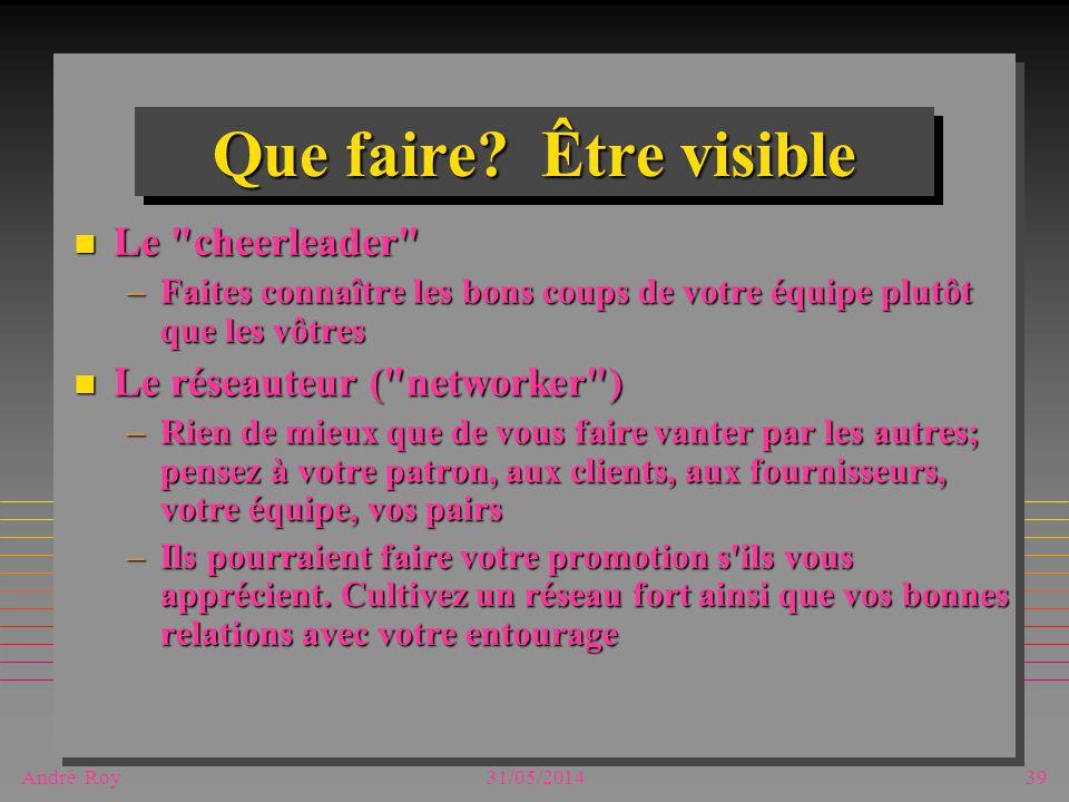 André Roy31/05/201439 Que faire? Être visible n Le