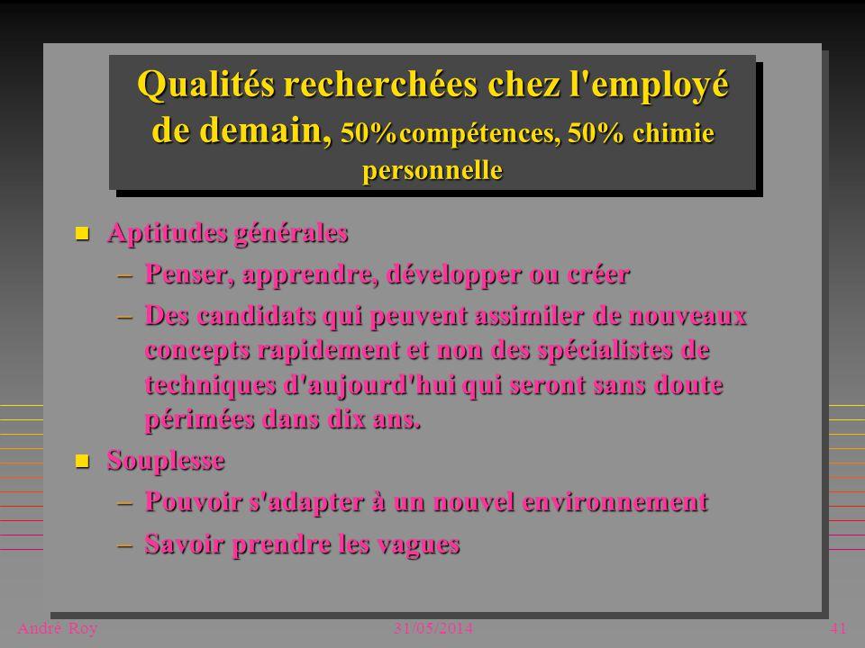 André Roy31/05/201441 Qualités recherchées chez l'employé de demain, 50%compétences, 50% chimie personnelle n Aptitudes générales –Penser, apprendre,