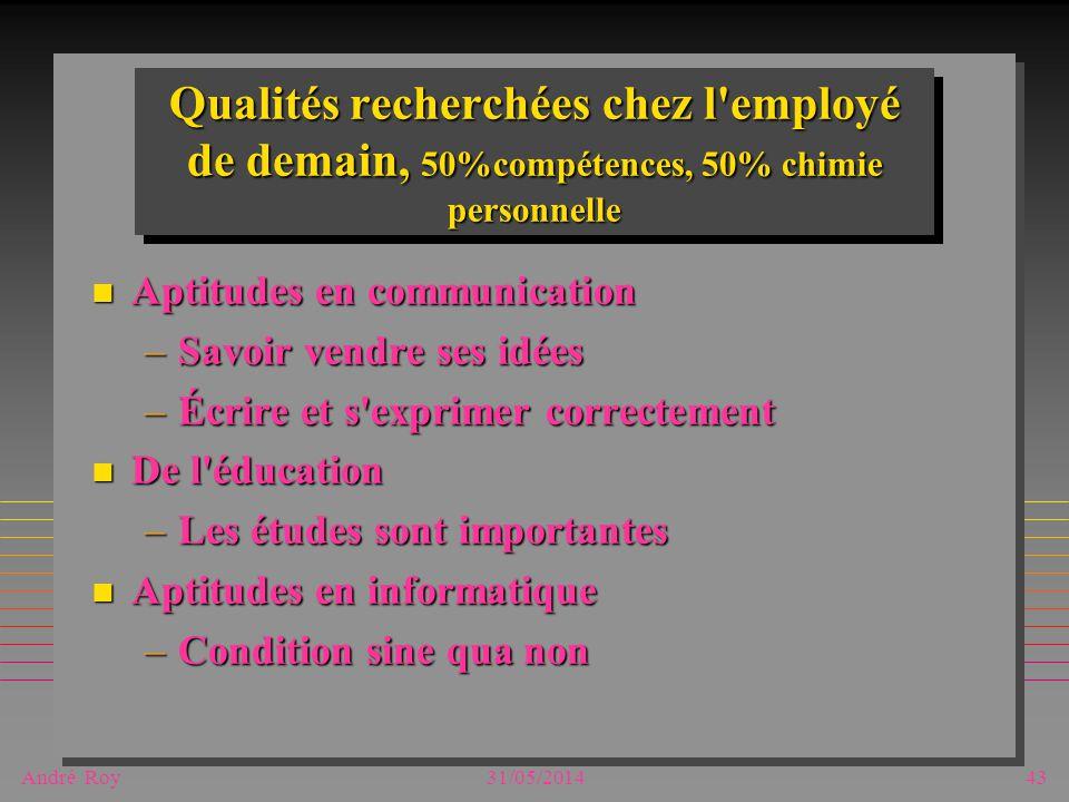 André Roy31/05/201443 Qualités recherchées chez l'employé de demain, 50%compétences, 50% chimie personnelle n Aptitudes en communication –Savoir vendr