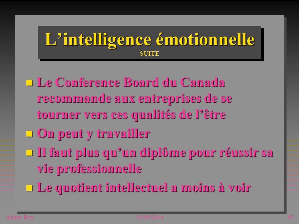 André Roy31/05/201445 Lintelligence émotionnelle SUITE n Le Conference Board du Canada recommande aux entreprises de se tourner vers ces qualités de l