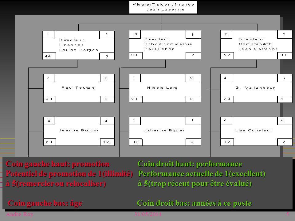 André Roy31/05/20145 Coin gauche haut: promotion Coin droit haut: performance Potentiel de promotion de 1(illimité) Performance actuelle de 1(excellent) à 5(remercier ou relocaliser) à 5(trop récent pour être évalué) Coin gauche bas: âge Coin droit bas: années à ce poste