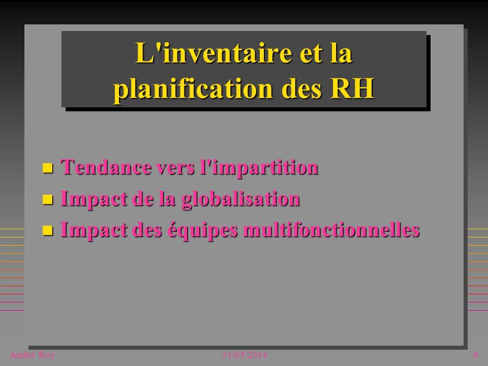 André Roy31/05/20146 L'inventaire et la planification des RH n Tendance vers l'impartition n Impact de la globalisation n Impact des équipes multifonc