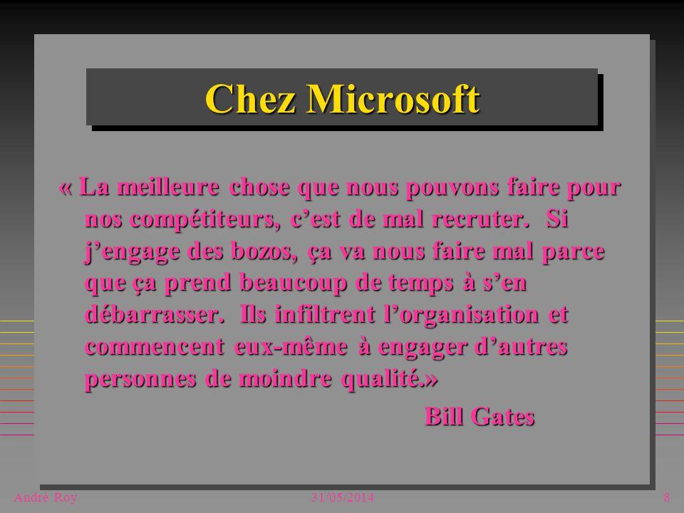 André Roy31/05/20148 Chez Microsoft « La meilleure chose que nous pouvons faire pour nos compétiteurs, cest de mal recruter. Si jengage des bozos, ça