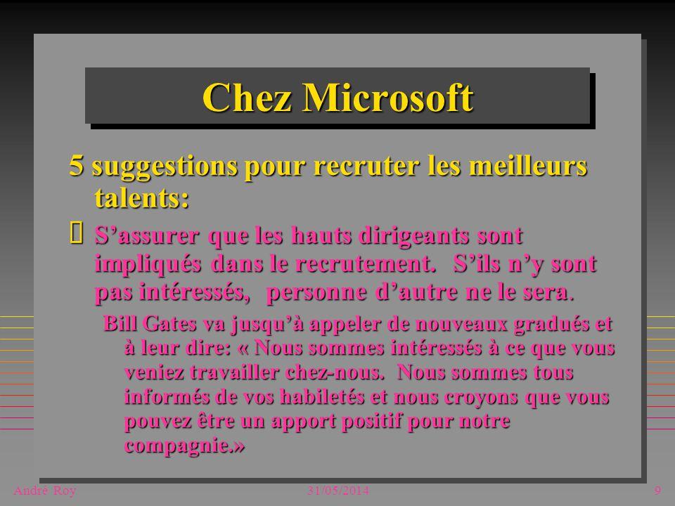 André Roy31/05/20149 Chez Microsoft 5 suggestions pour recruter les meilleurs talents: Sassurer que les hauts dirigeants sont impliqués dans le recrutement.