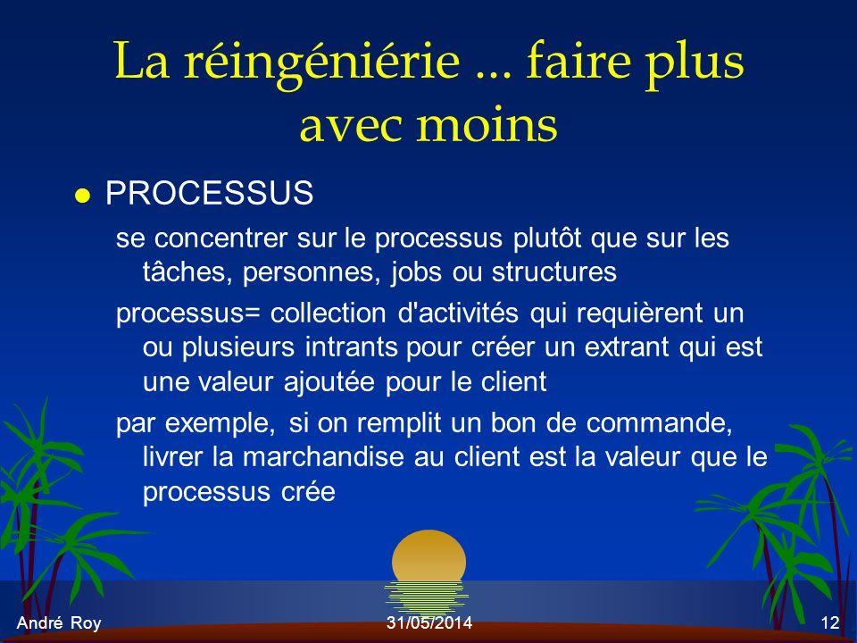 André Roy31/05/201412 La réingéniérie... faire plus avec moins l PROCESSUS se concentrer sur le processus plutôt que sur les tâches, personnes, jobs o