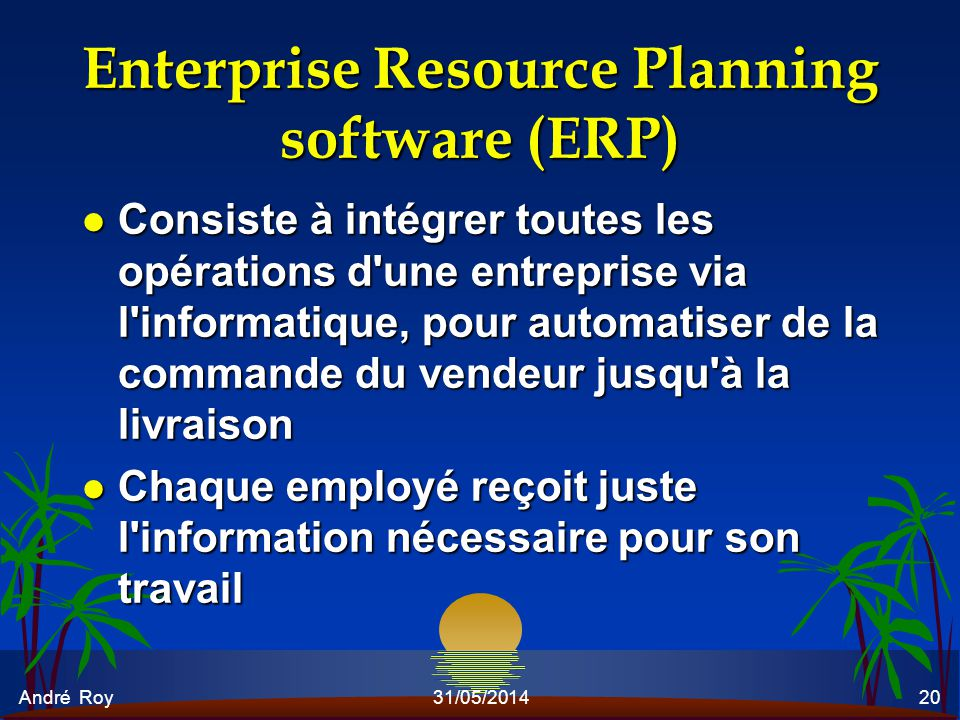 André Roy31/05/201420 Enterprise Resource Planning software (ERP) l Consiste à intégrer toutes les opérations d'une entreprise via l'informatique, pou