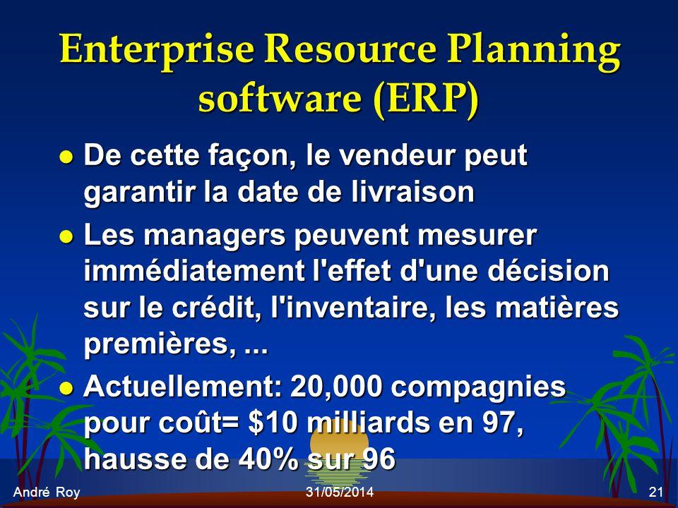 André Roy31/05/201421 Enterprise Resource Planning software (ERP) l De cette façon, le vendeur peut garantir la date de livraison l Les managers peuve