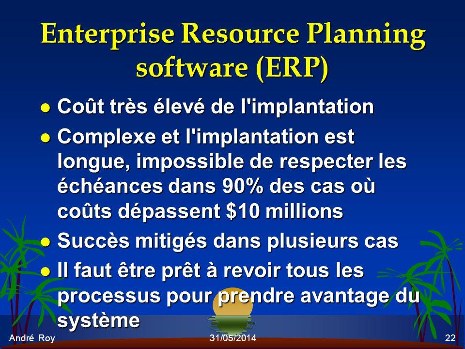 André Roy31/05/201422 Enterprise Resource Planning software (ERP) l Coût très élevé de l'implantation l Complexe et l'implantation est longue, impossi