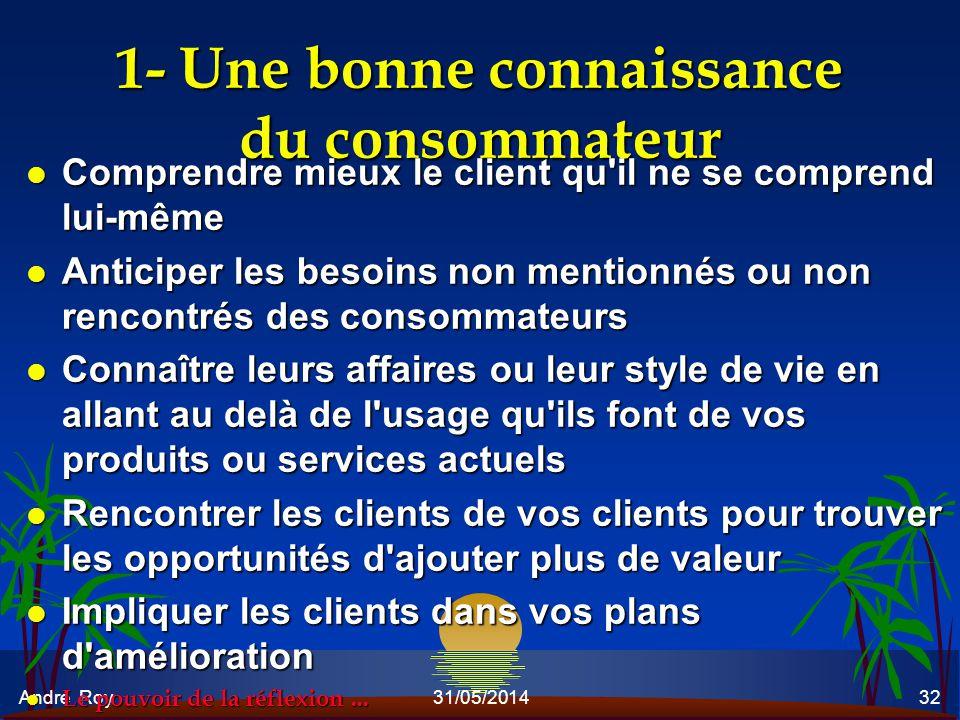 André Roy31/05/201432 1- Une bonne connaissance du consommateur l Comprendre mieux le client qu'il ne se comprend lui-même l Anticiper les besoins non