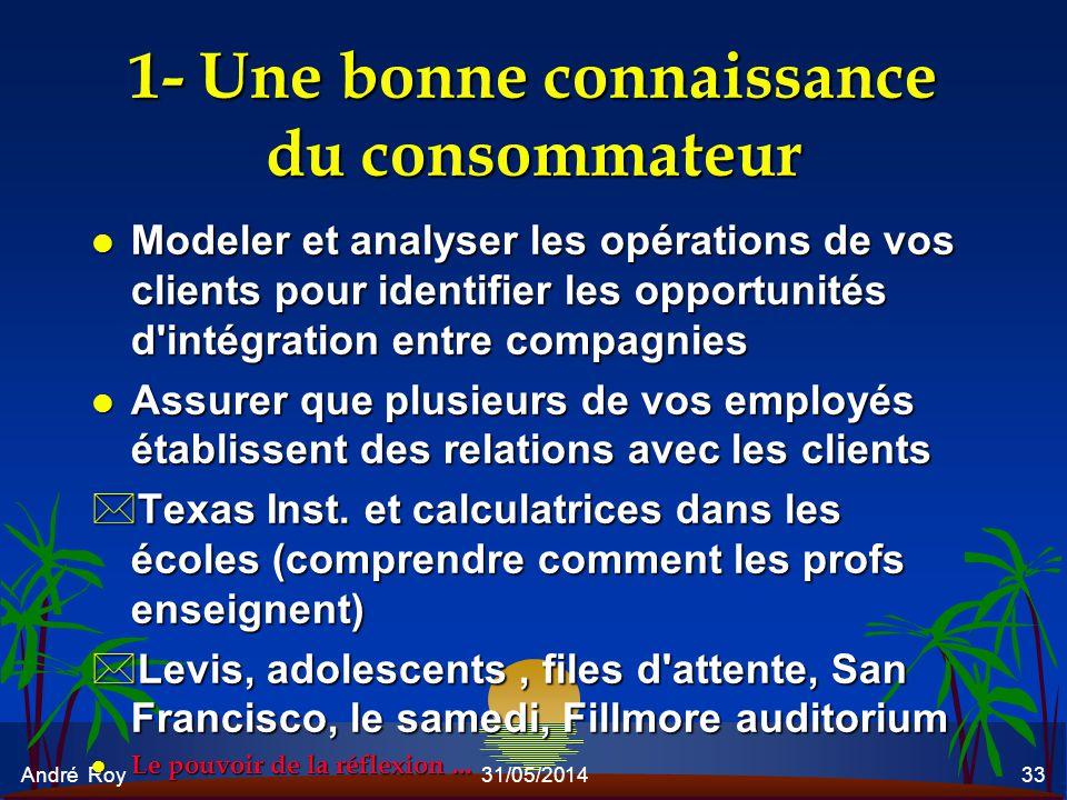 André Roy31/05/201433 1- Une bonne connaissance du consommateur l Modeler et analyser les opérations de vos clients pour identifier les opportunités d