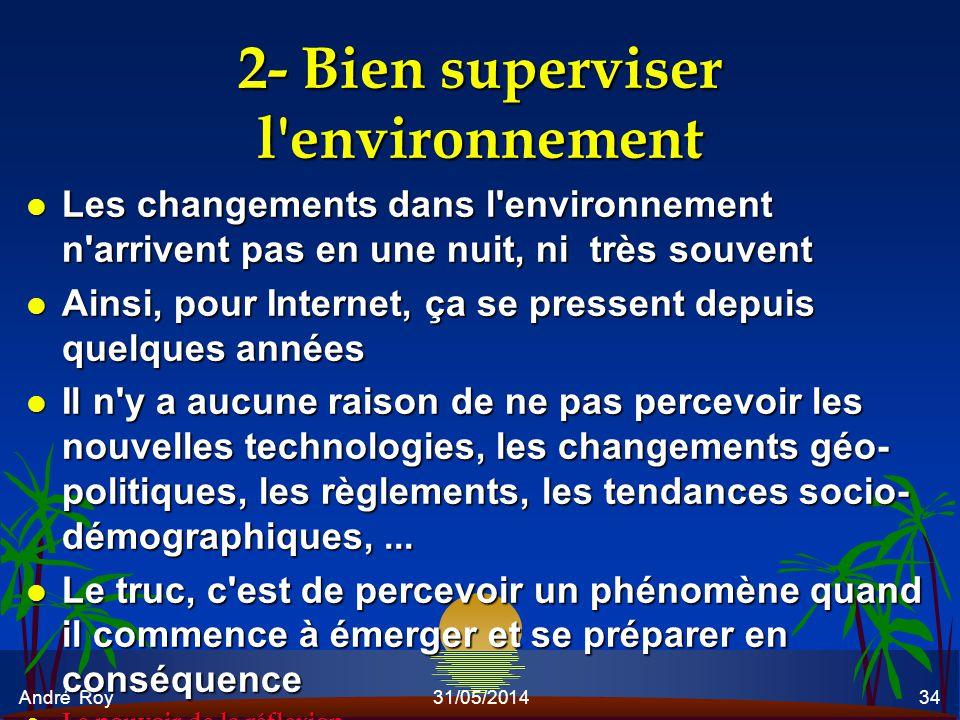 André Roy31/05/201434 2- Bien superviser l'environnement l Les changements dans l'environnement n'arrivent pas en une nuit, ni très souvent l Ainsi, p