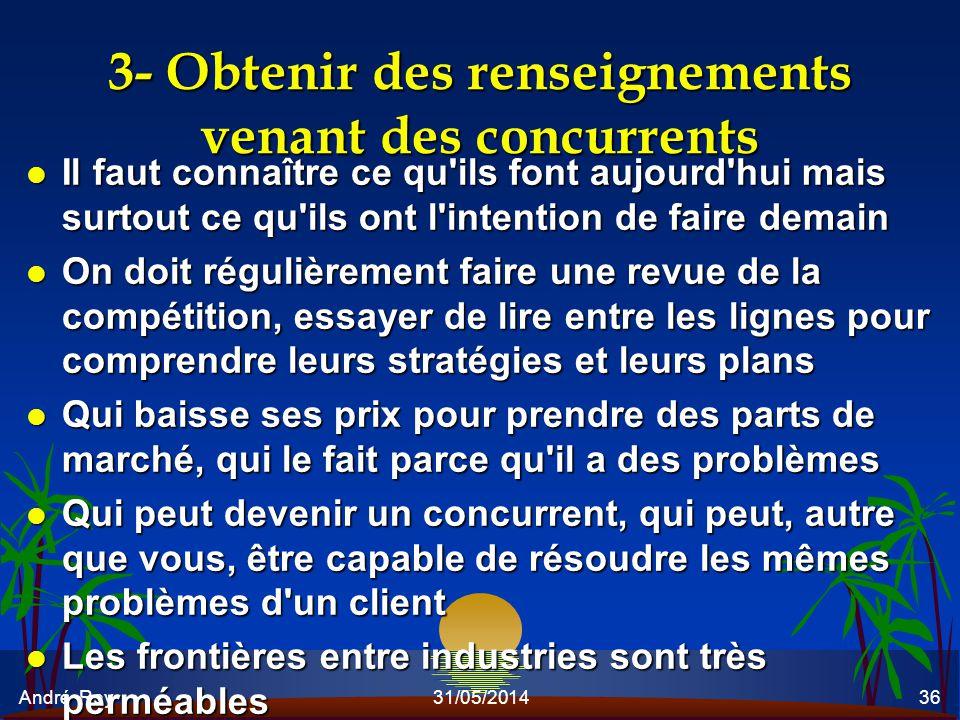 André Roy31/05/201436 3- Obtenir des renseignements venant des concurrents l Il faut connaître ce qu'ils font aujourd'hui mais surtout ce qu'ils ont l