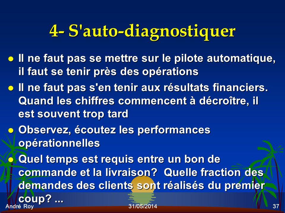 André Roy31/05/201437 4- S'auto-diagnostiquer l Il ne faut pas se mettre sur le pilote automatique, il faut se tenir près des opérations l Il ne faut