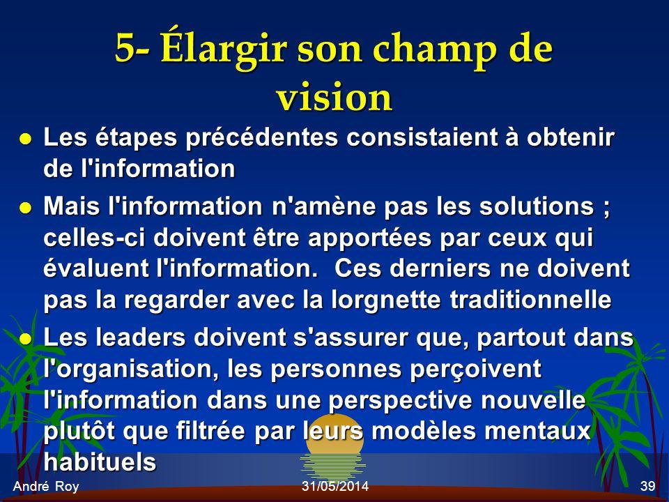 André Roy31/05/201439 5- Élargir son champ de vision l Les étapes précédentes consistaient à obtenir de l'information l Mais l'information n'amène pas