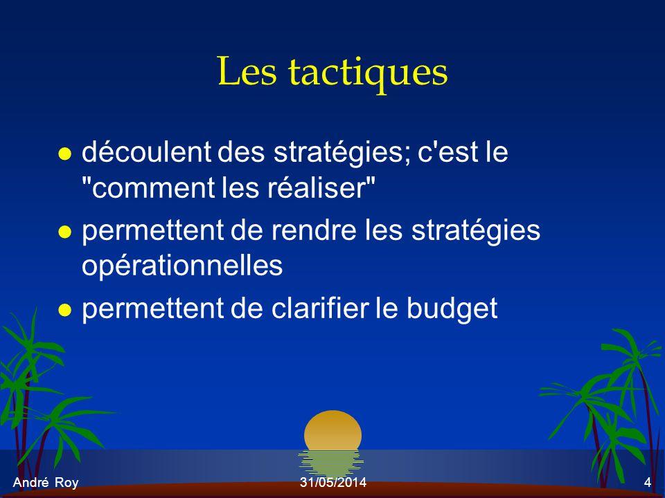 André Roy31/05/20144 Les tactiques l découlent des stratégies; c'est le