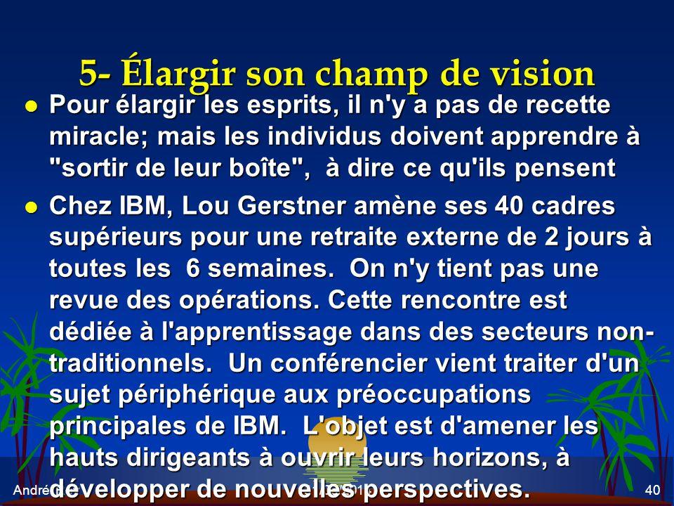 André Roy31/05/201440 5- Élargir son champ de vision l Pour élargir les esprits, il n'y a pas de recette miracle; mais les individus doivent apprendre