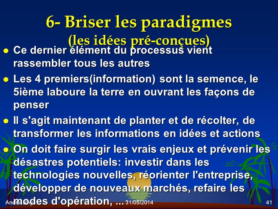 André Roy31/05/201441 6- Briser les paradigmes (les idées pré-conçues) l Ce dernier élément du processus vient rassembler tous les autres l Les 4 prem