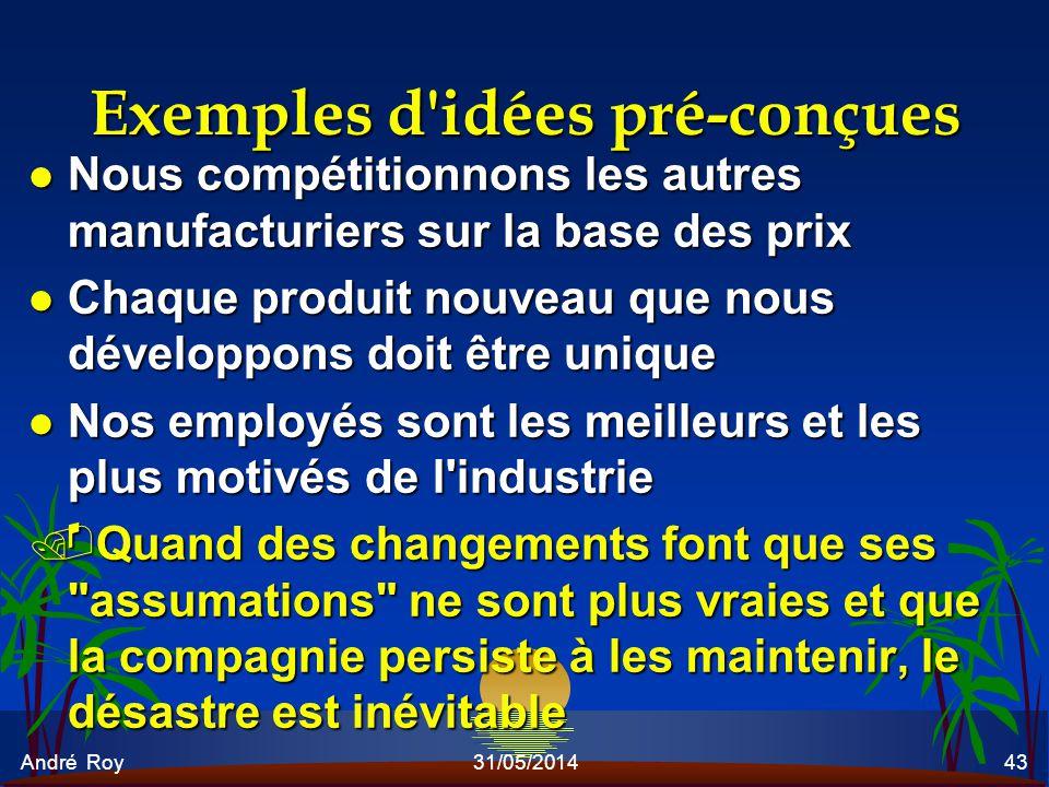 André Roy31/05/201443 Exemples d'idées pré-conçues l Nous compétitionnons les autres manufacturiers sur la base des prix l Chaque produit nouveau que