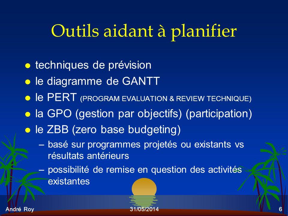André Roy31/05/20146 Outils aidant à planifier l techniques de prévision l le diagramme de GANTT l le PERT (PROGRAM EVALUATION & REVIEW TECHNIQUE) l l
