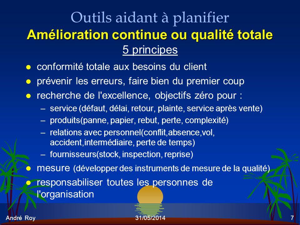 André Roy31/05/20147 Amélioration continue ou qualité totale Outils aidant à planifier Amélioration continue ou qualité totale 5 principes l conformit