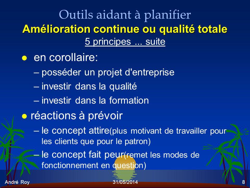 André Roy31/05/20148 Amélioration continue ou qualité totale Outils aidant à planifier Amélioration continue ou qualité totale 5 principes... suite l