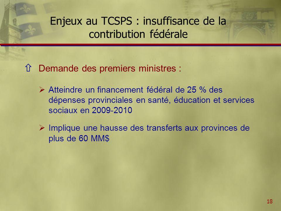 19 Enjeux au TCSPS : demande des Premiers ministres