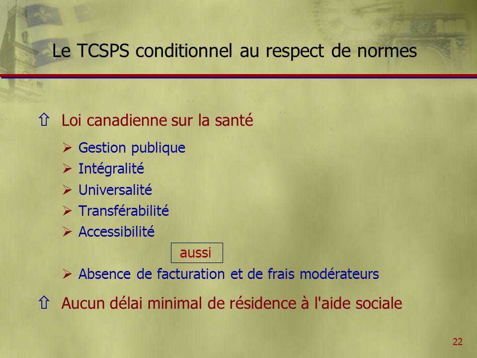 22 Le TCSPS conditionnel au respect de normes ñ Loi canadienne sur la santé Gestion publique Intégralité Universalité Transférabilité Accessibilité aussi Absence de facturation et de frais modérateurs ñ Aucun délai minimal de résidence à l aide sociale