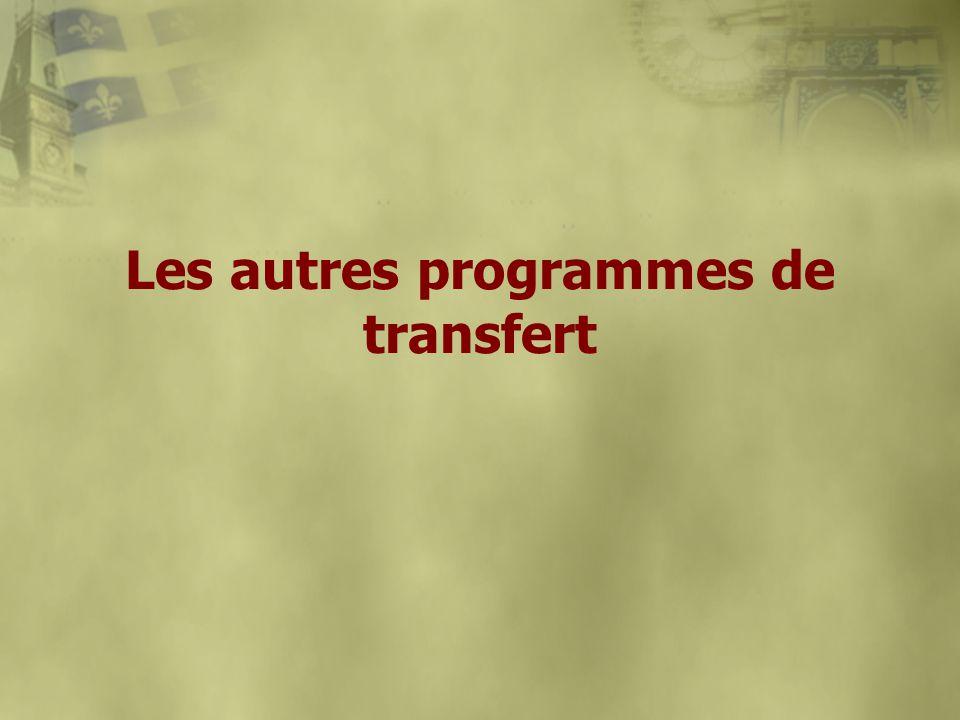 Les autres programmes de transfert