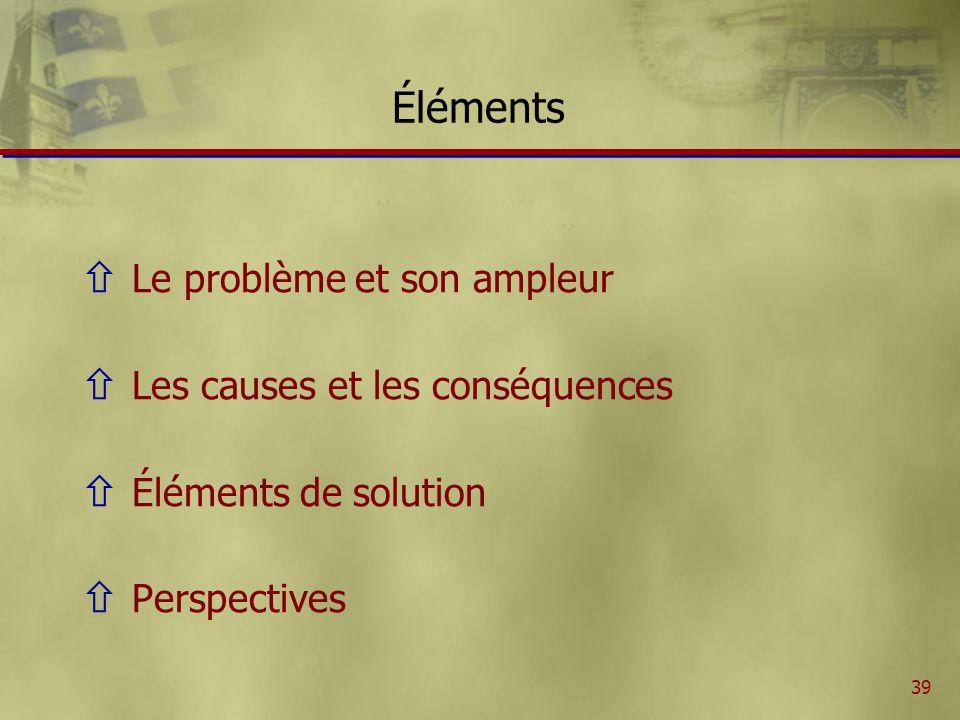 39 Éléments ñ Le problème et son ampleur ñ Les causes et les conséquences ñ Éléments de solution ñ Perspectives