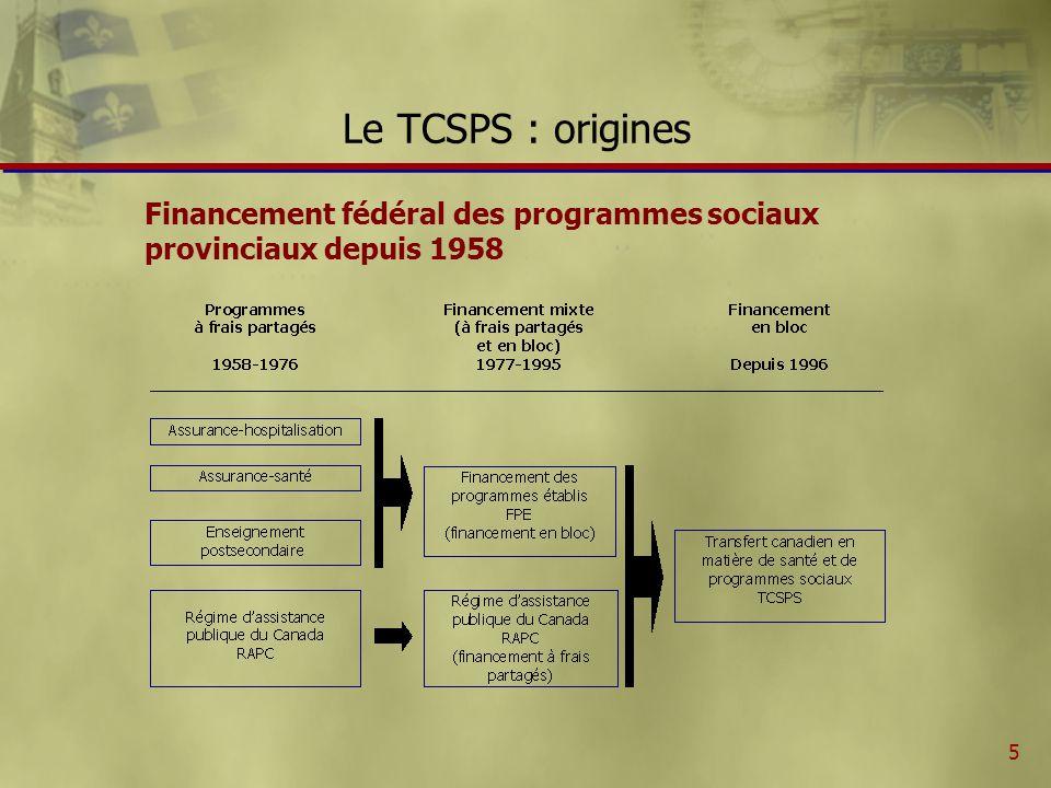 6 Le fonctionnement du TCSPS ñ Le fonctionnement du TCSPS est relativement simple : Le budget annuel alloué au programme (transferts financiers) est déterminé par une loi fédérale v Ex.: 17,3 MM$ en 2001-2002 Un mécanisme prévoit la répartition dudit budget entre les provinces et les territoires ñ Certains fonds/fiducies ad hoc peuvent sajouter.
