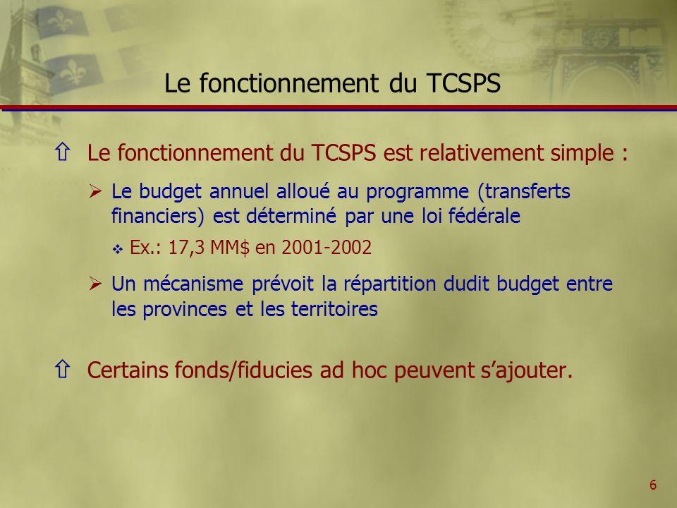 7 Contribution fédérale au TCSPS Transferts financiers au titre du TCSPS prévus à la partie V de la Loi sur les arrangements fiscaux entre le gouvernement fédéral et les provinces (en milliards de dollars, excluant les fiducies) AnnéesMontants 1999-200012,5 2000-200113,5 2001-200217,3 2002-200318,6 2003-200419,3 2004-200520,5 2005-200621,2