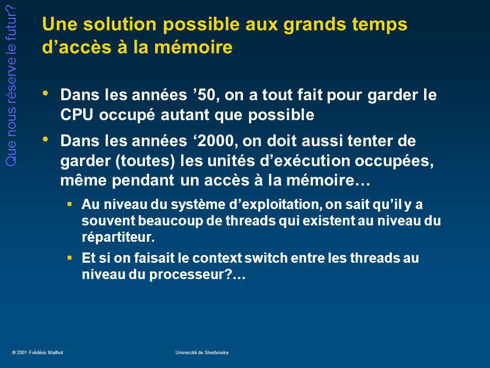 © 2001 Frédéric MailhotUniversité de Sherbrooke Que nous réserve le futur.