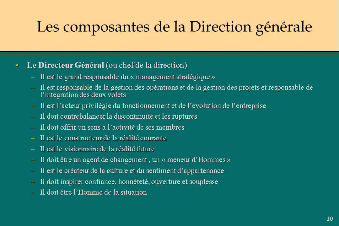 10 Le Directeur Général (ou chef de la direction)Le Directeur Général (ou chef de la direction) –Il est le grand responsable du « management stratégiq