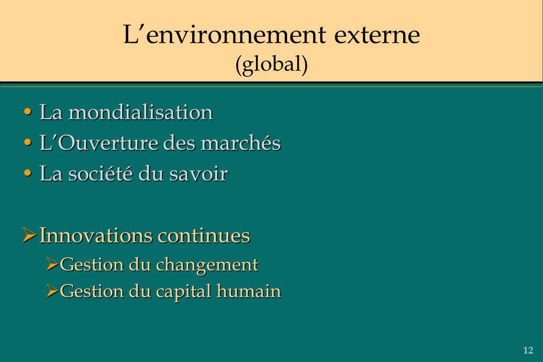 12 Lenvironnement externe (global) La mondialisationLa mondialisation LOuverture des marchésLOuverture des marchés La société du savoirLa société du s