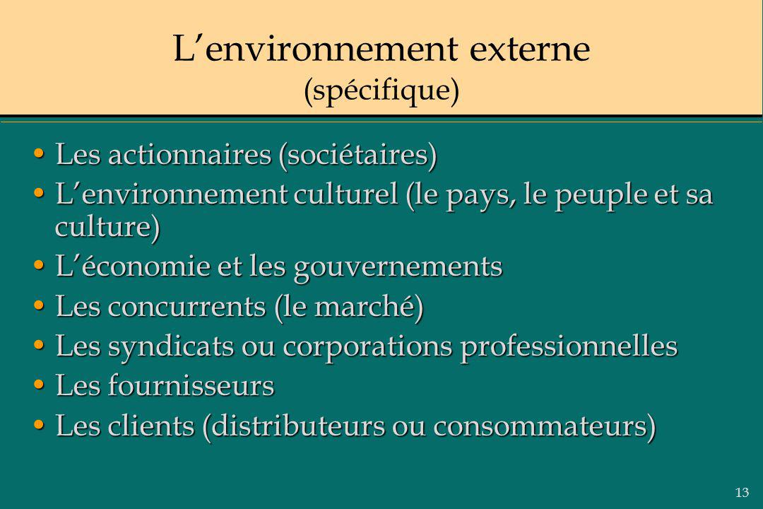 13 Lenvironnement externe (spécifique) Les actionnaires (sociétaires)Les actionnaires (sociétaires) Lenvironnement culturel (le pays, le peuple et sa