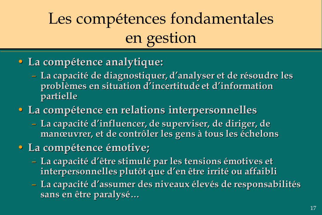 17 Les compétences fondamentales en gestion La compétence analytique: La compétence analytique: – La capacité de diagnostiquer, danalyser et de résoud