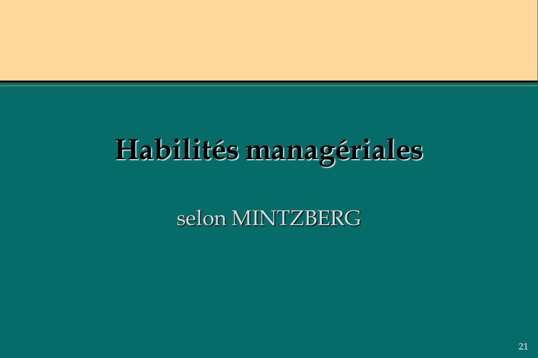 21 Habilités managériales selon MINTZBERG