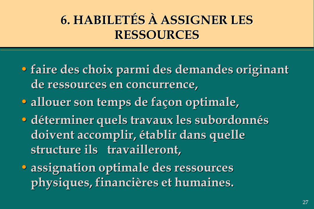 27 6. HABILETÉS À ASSIGNER LES RESSOURCES faire des choix parmi des demandes originant de ressources en concurrence, faire des choix parmi des demande