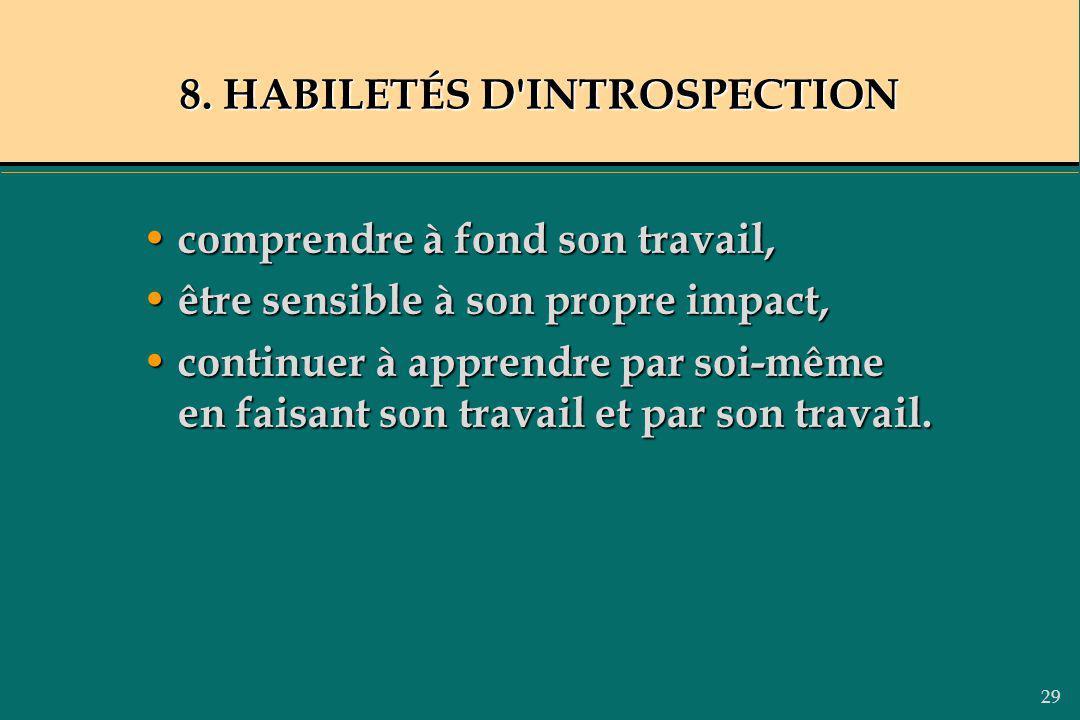 29 8. HABILETÉS D'INTROSPECTION comprendre à fond son travail, comprendre à fond son travail, être sensible à son propre impact, être sensible à son p