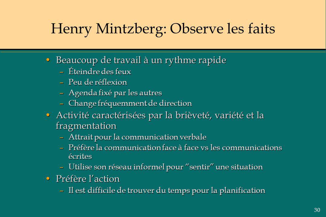 30 Henry Mintzberg: Observe les faits Beaucoup de travail à un rythme rapideBeaucoup de travail à un rythme rapide –Éteindre des feux –Peu de réflexio