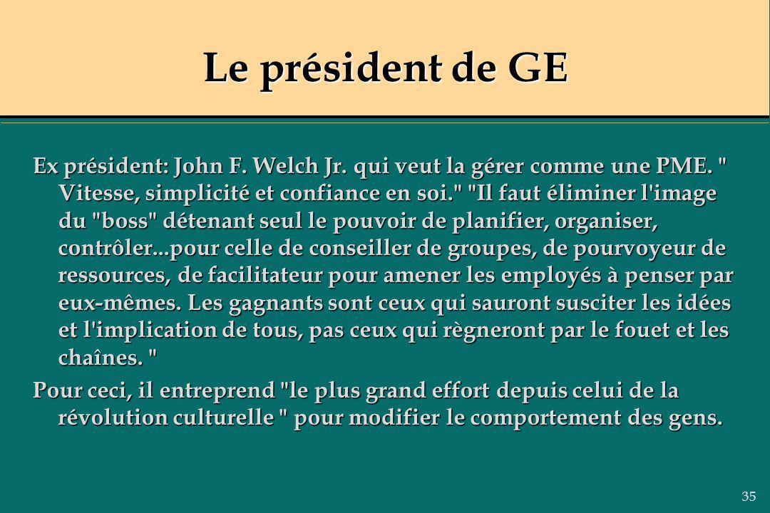 35 Le président de GE Ex président: John F. Welch Jr. qui veut la gérer comme une PME.