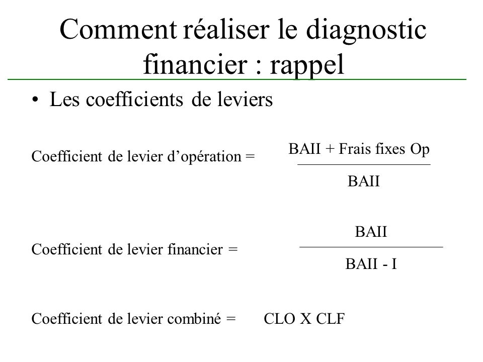 Comment réaliser le diagnostic financier : rappel Les coefficients de leviers Coefficient de levier dopération = Coefficient de levier financier = Coe