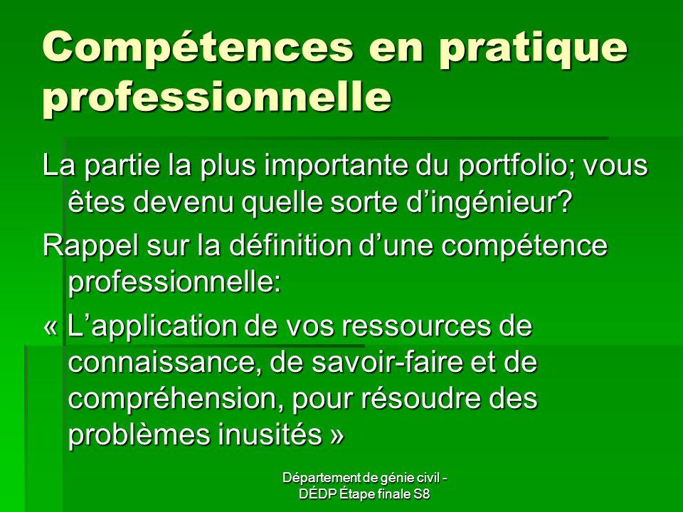 Compétences en pratique professionnelle La partie la plus importante du portfolio; vous êtes devenu quelle sorte dingénieur.